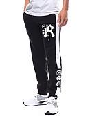お買い得  メンズフーディー&スウェットシャツ-男性用 ベーシック / ストリートファッション プラスサイズ スウェットパンツ パンツ - カラーブロック プリント ブラック / スポーツ