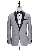 お買い得  スーツ-ソリッド テイラーフィット ポリエステル スーツ - ショールカラー シングルブレスト 一つボタン