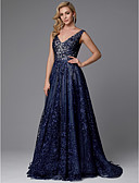 cheap Prom Dresses-A-Line V Neck Sweep / Brush Train Lace See Through Formal Evening Dress with Beading / Appliques by TS Couture®