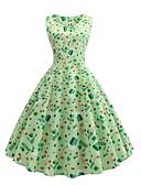 cheap Vintage Dresses-Women's Daily Street chic Swing Dress - Geometric Print Summer Light Green L XL XXL