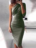 povoljno Sweater Dresses-Žene Osnovni Slim Bodycon Haljina - Drapirano, Jednobojni Na jedno rame Do koljena Visoki struk / Sexy