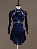 abordables Robe de Patinage-Costumes de Danse Combinaison à Strass / Patinage Femme / Fille Entraînement Chinlon / Tulle Cristaux / Stras Manches Longues Taille haute Robe