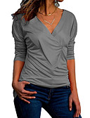 baratos Camisetas Femininas-Mulheres Camiseta Básico Frufru / Estilo vintage / Sexy, Sólido Algodão Decote V / Laço
