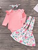 olcso Lány divat-Kisgyermek Lány Aktív / Alap Jacquardszövet Hosszú ujj Pamut / Spandex Ruházat szett Arcpír rózsaszín