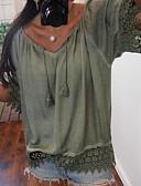 levne Halenka-Dámské - Jednobarevné Základní Větší velikosti Tričko, Krajka Do V Bílá XXXL