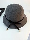 billige Hatter til damer-Dame Grunnleggende Solhatt Trykt mønster Strå Grå Vin Kakifarget
