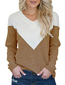 preiswerte Damen Pullover-Damen Alltag Street Schick Solide Langarm Standard Pullover, V-Ausschnitt Herbst / Winter Schwarz / Rote / Khaki M / L / XL