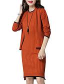 baratos Blusas Femininas-Mulheres Moda de Rua / Elegante Tricô Vestido - Pregueado, Listrado Acima do Joelho