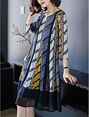 זול שמלות נשים-בגדי ריקוד נשים מידות גדולות מכנסיים - פסים קפלים / דפוס קשת / ליציאה / משוחרר