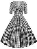 halpa Maksimekot-Naisten Party Bile Vintage 1950-luku Katutyyli Puuvilla A-linja Mekko - Houndstooth-kuvio, Painettu V kaula-aukko Midi Black & White / Seksikäs
