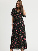 cheap Women's Dresses-Women's Daily / Going out Elegant Flare Sleeve Swing Dress - Floral Print Spring Black XL XXL XXXL