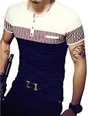 お買い得  メンズTシャツ&タンクトップ-男性用 パッチワーク Tシャツ 活発的 ラウンドネック スリム ストライプ / パッチワーク コットン ブラック&ホワイト / 半袖