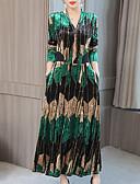 abordables Robes Maxi-Femme Vacances Sortie Midi Balançoire Robe - Imprimé, Géométrique Col en V Automne Hiver Vert Rouge XL XXL XXXL Velours Manches Longues