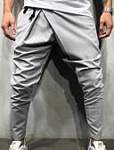お買い得  メンズTシャツ&タンクトップ-男性用 ストリートファッション スウェットパンツ パンツ - ソリッド ネイビーブルー
