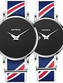 povoljno Ženski satovi-Kopeck Par je Ručni satovi s mehanizmom za navijanje digitalni sat Japanski Japanski kvarc odgovarajući Njegova i Njezina Najlon Crna / Siva / Svijetlo plava 30 m Vodootpornost New Design Casual sat