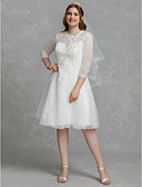 cheap Wedding Dresses-A-Line Jewel Neck Knee Length Lace / Tulle Made-To-Measure Wedding Dresses with Beading / Lace / Lace Insert by LAN TING BRIDE® / Illusion Sleeve / Little White Dress