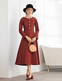 economico Abiti donna-Per donna Vintage / Elegante Linea A Vestito - Collage, Tinta unita Medio