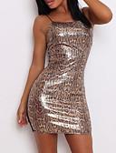 abordables Mini Robes-Femme Soirée Mini Mince Gaine Robe Léopard A Bretelles Printemps Eté Marron M L XL Sans Manches / Sexy