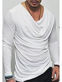 お買い得  メンズTシャツ&タンクトップ-男性用 Tシャツ ラウンドネック スリム ソリッド ホワイト XL / 長袖