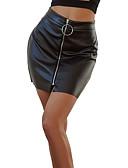 billige Skjørt-kvinners faux leather midi bodycon skjørt - solid farget patchwork