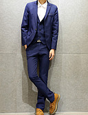 cheap Men's Blazers & Suits-Men's Daily Fall & Winter Plus Size Regular Blazer, Solid Colored Notch Lapel Long Sleeve Polyester Navy Blue XXXL / XXXXL / XXXXXL / Slim