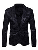 cheap Men's Blazers & Suits-Men's Party Luxury Fall / Winter Regular Blazer, Paisley Notch Lapel Long Sleeve Cotton / Polyester Jacquard White / Black / Navy Blue L / XL / XXL / Business Formal