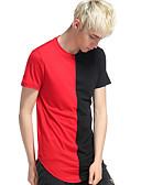 abordables Camisetas y Tops de Hombre-Hombre Retazos Camiseta, Escote Redondo Geométrico / Bloques Naranja L / Manga Corta