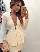 hesapli Suit-Kadın's Günlük Normal Suit, Solid V Yaka Uzun Kollu Pamuklu / Polyester Siyah / YAKUT / Fuşya M / L / XL