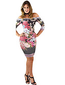cheap Print Dresses-Women's Off Shoulder Daily Going out Elegant Slim Sheath Dress - Floral Print Off Shoulder Spring Pink M L XL / Sexy