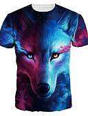 お買い得  メンズTシャツ&タンクトップ-男性用 プリント Tシャツ ベーシック / 誇張された 3D / 動物 / カートゥン オオカミ