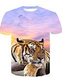 billige T-skjorter og singleter til herrer-Rund hals T-skjorte Herre - Fargeblokk / Dyr, Trykt mønster Gatemote / Punk & Gotisk Klubb Tiger Hvit XXL / Kortermet