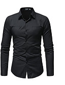 billige Herreskjorter-Tynn Skjorte Herre - Ensfarget Blå XL / Langermet