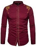 levne Pánské košile-Pánské - Jednobarevné Luxus / Vintage Košile, Patchwork Stojáček Sedmikráska Černá L / Dlouhý rukáv / Léto