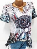 זול חולצה-גיאומטרי / קולור בלוק מידות גדולות חולצה - בגדי ריקוד נשים פרחוני / דפוס פול / אביב / קיץ / סתיו / חורף