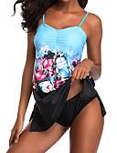 cheap Tankinis-Women's Basic Strap Blue Cheeky Tankini Swimwear - Color Block XXXL XXXXL XXXXXL Blue / Sexy