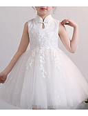お買い得  女児 ドレス-子供 女の子 ベーシック ソリッド 長袖 ドレス ホワイト