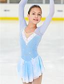 お買い得  女児 ドレス-フィギュアスケート ドレス 女性用 女の子 アイススケート ドレス 青 / ホワイト スパンデックス 高弾性 競技大会 スケートウェア 手作り クラシック ファッション アイススケート フィギュアスケート