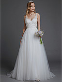 cheap Wedding Dresses-A-Line V Neck Court Train Lace / Tulle Made-To-Measure Wedding Dresses with Lace by LAN TING BRIDE® / Beautiful Back