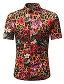 זול חולצות לגברים-פרחוני / נמר / קולור בלוק סגנון רחוב / פאנק & גותיות עבודה / מועדונים חולצה - בגדי ריקוד גברים דפוס קשת / שרוולים קצרים