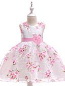 hesapli Çiçekçi Kız Elbiseleri-Prenses Taşlı Yaka Orta Uzunluk Organze / Mikado Tema / Baskı ile Çiçekçi Kız Elbisesi tarafından LAN TING Express