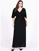 preiswerte Kleider in Übergröße-Damen Übergrössen Baumwolle Lose Chiffon Kleid Maxi V-Ausschnitt