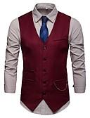 hesapli Erkek Blazerları ve Takım Elbiseleri-Erkek Günlük Sonbahar Kış Normal Vesta, Solid V Yaka Kolsuz Akrilik / Polyester Siyah / Koyu Mavi / Şarap L / XL / XXL / İnce