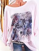 levne Košile-Dámské - Grafika Šik ven Větší velikosti Tričko, Tisk Světlá růžová XXXL