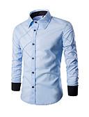 お買い得  メンズシャツ-男性用 プラスサイズ シャツ スタンドカラー ストライプ / チェック コットン ワイン XL / 長袖 / 夏
