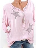 economico Top da donna-T-shirt - Taglie forti Per donna Fantasia geometrica Cotone Rosa XXXL