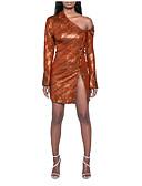 baratos Vestidos de Festa-Mulheres Tubinho Vestido Assimétrico Acima do Joelho