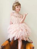 זול שמלות לבנות-שמלה ללא שרוולים אחיד ורד מאובק בסיסי בנות ילדים