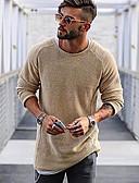 זול סוודרים וקרדיגנים לגברים-מבוגרים M / L / XL אודם / בז' / חום בהיר פוליאסטר, סוודר רגיל רגיל שרוול ארוך אחיד יומי בגדי ריקוד גברים