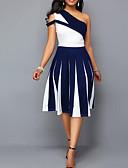 Χαμηλού Κόστους Φορέματα NYE-Γυναικεία Μεγάλα Μεγέθη Πάρτι Σέξι Φόρεμα - Ριγέ Συνδυασμός Χρωμάτων Μίντι Ένας Ώμος