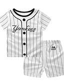 זול לבנים סטים של ביגוד לתינוקות-סט של בגדים כותנה קצר קצר שרוולים קצרים סרוג כחול ולבן בסיסי בנים תִינוֹק / פעוטות
